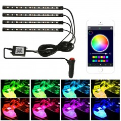 Set Leduri Auto Multicolore Cu Control Bluetooth 9 SMD