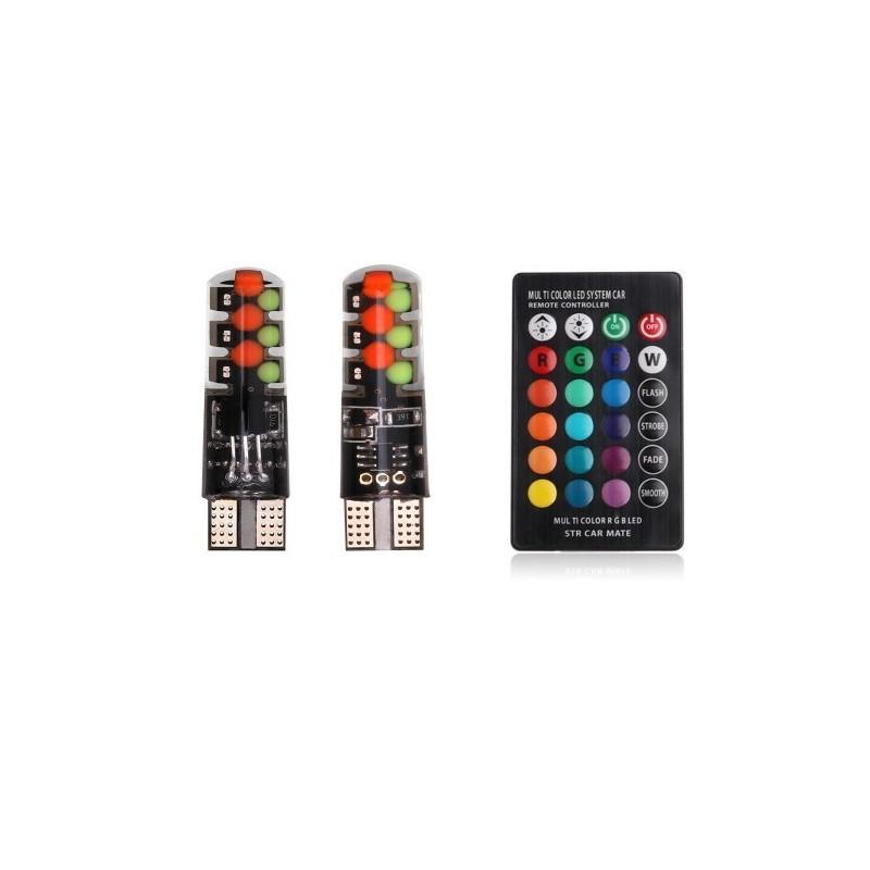 Set 2 LED-uri Auto W5W T10, RGB Pentru Pozitie , Multicolore Cu Telecomanda Model P15