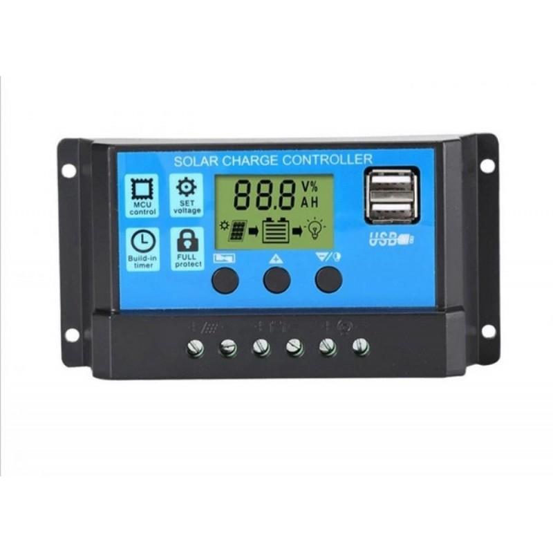 Regulator Controler Solar PWM 20A, 12V24V, 2 X USB Si LCD