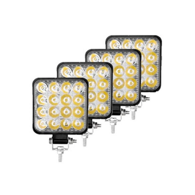 4 x Proiector LED auto offroad 48W 12V-24V, 3520 lumeni, patrat