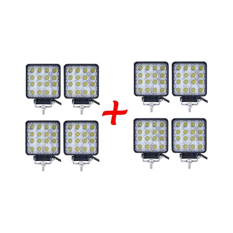 8 x Proiector LED auto offroad 48W 12V-24V, 3520 lumeni, patrat